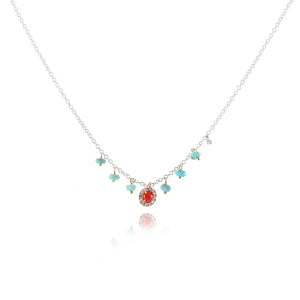 White Gold Turquoise and Coral Necklace