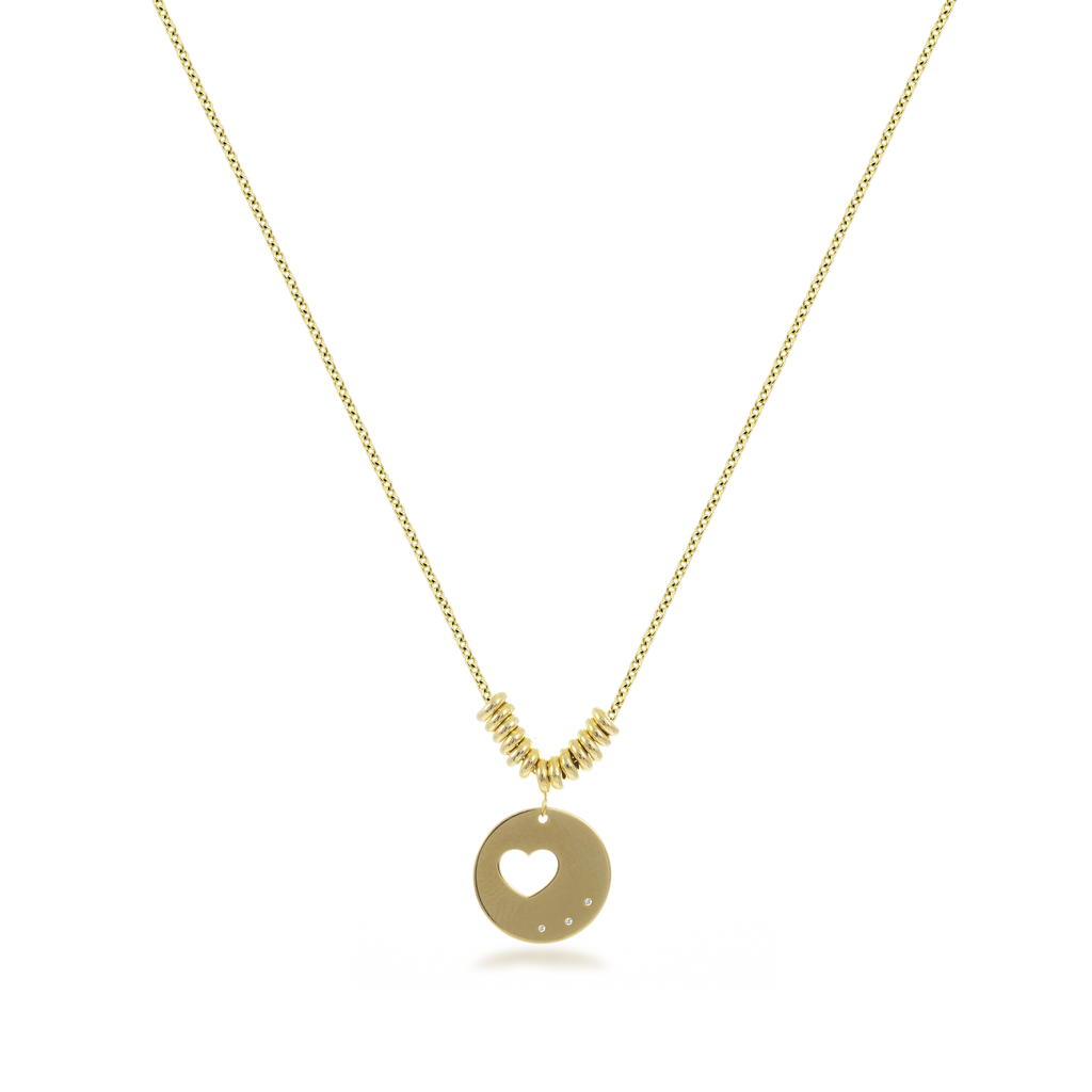 Heart Disk Necklace