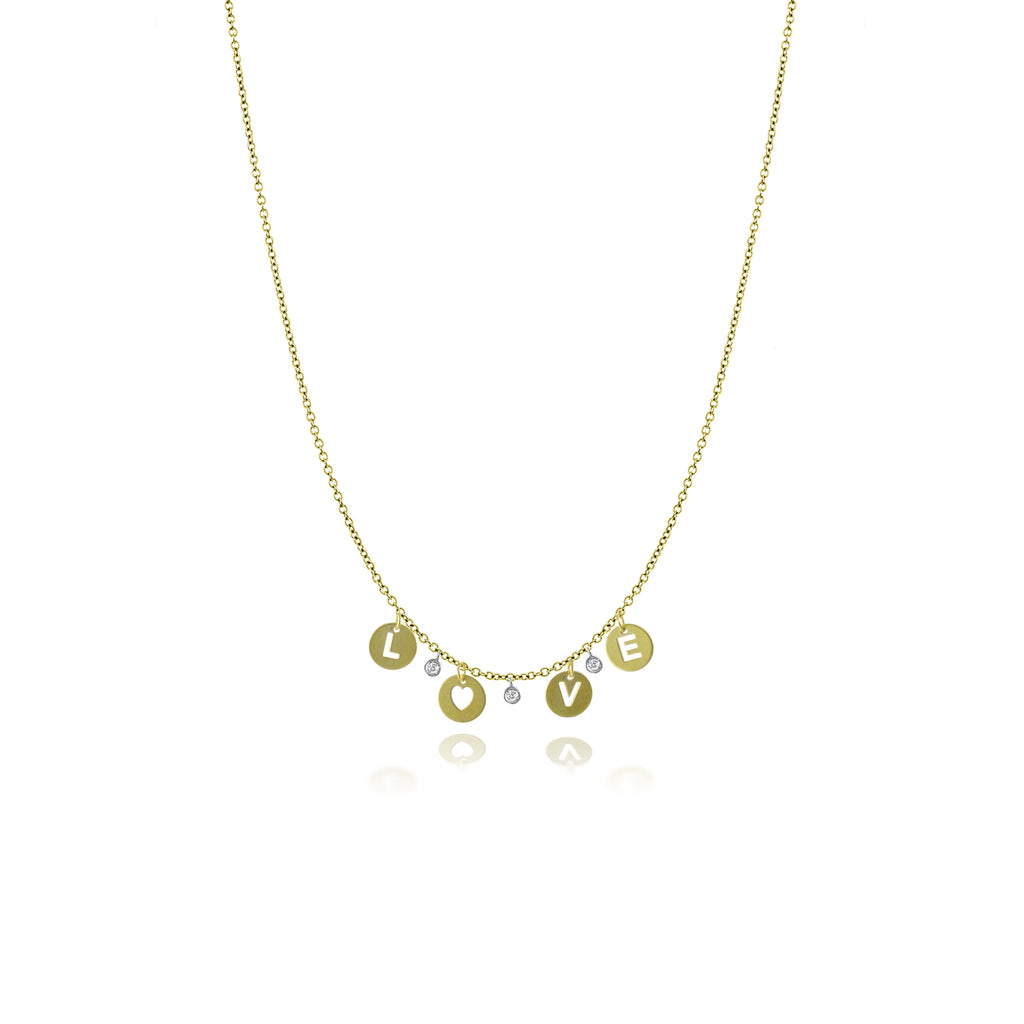 14k Gold High Polished Love Necklace