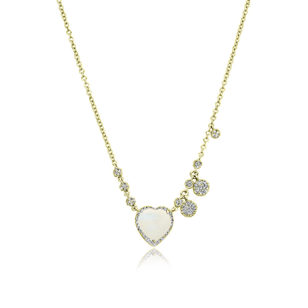 Moonstone Yellow Gold Heart Necklace