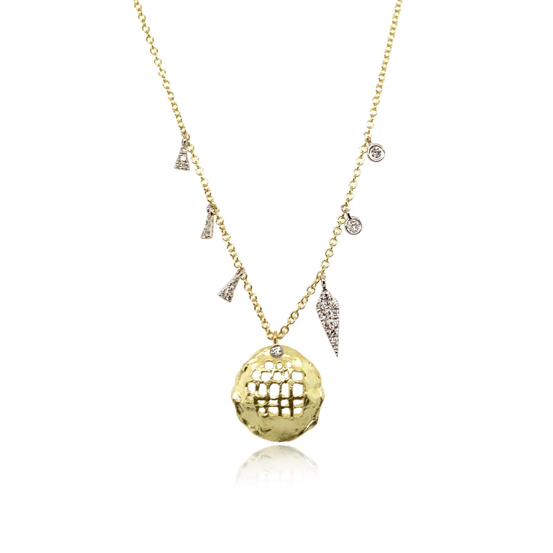 Textured Gold Charm Necklace