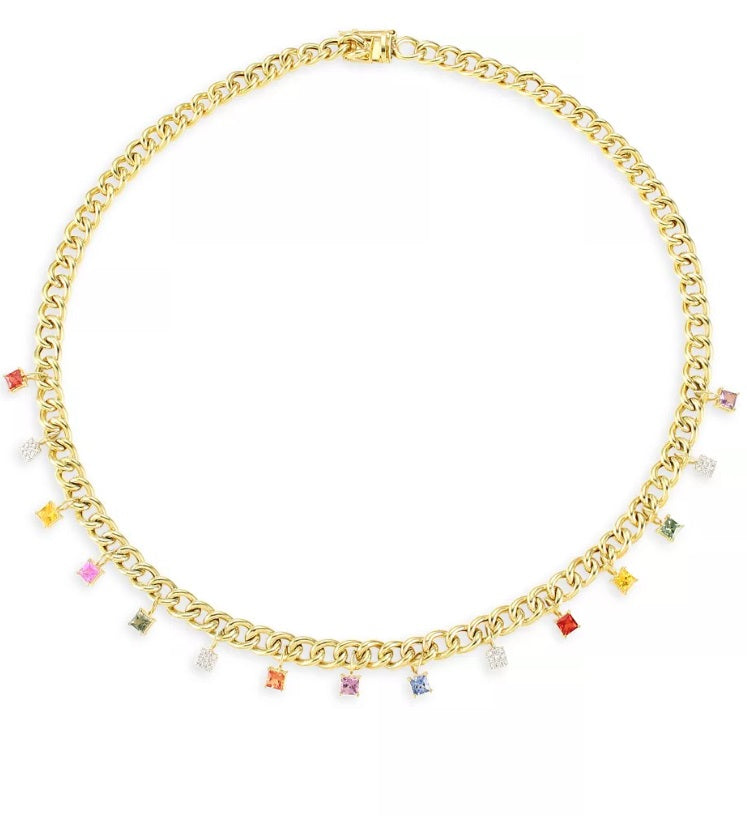 Rainbow Sapphire Diamond Link Chain Necklace