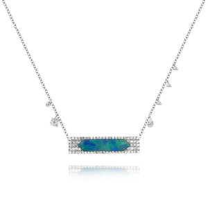 White Gold Opal Bar Necklace
