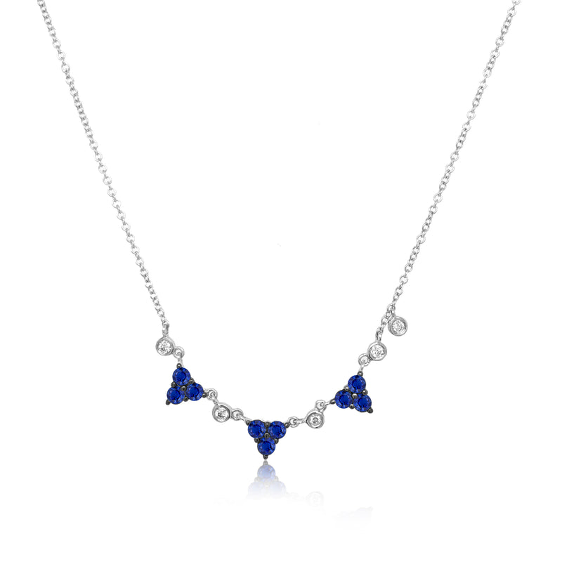 Blue Sapphire and Diamond Layering Necklace