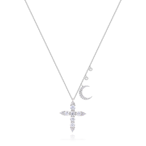 White Gold Diamond Encrusted Cross with Moon and Diamond Accents