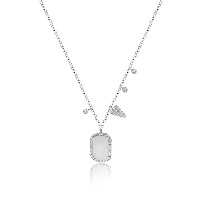 Druzy white gold and diamond necklace