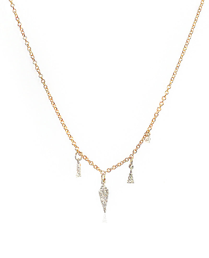 Rose Gold Diamond Dagger Necklace