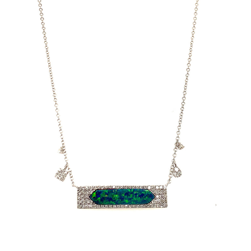 White Gold Opal Bar Charm Necklace