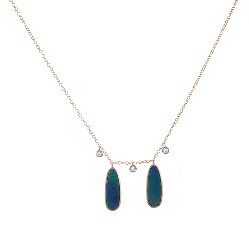 Yellow Gold Diamond Opal Necklace