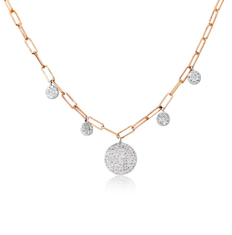 Rose Gold Diamond Link Chain Necklace