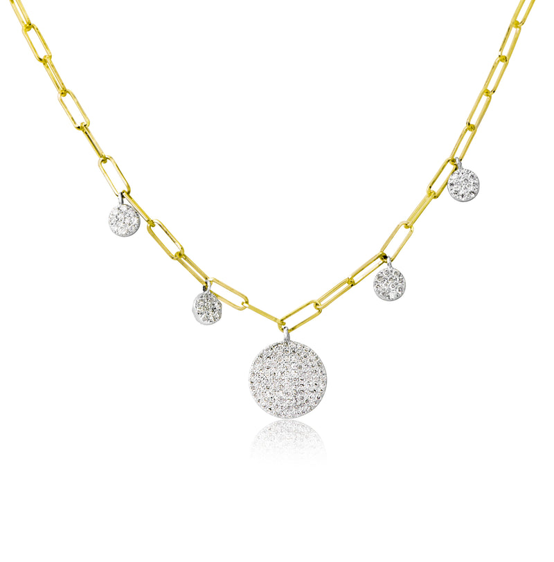 Yellow Gold Diamond Link Chain Necklace