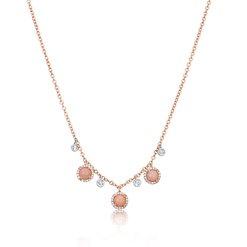 Pink Opal Diamond Necklace