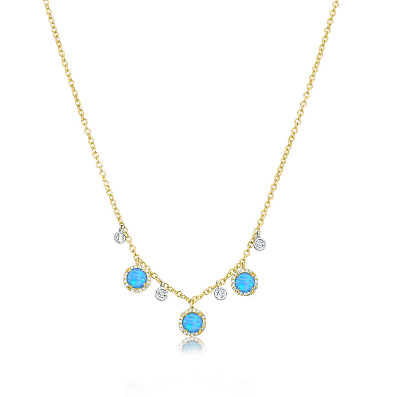 Blue Opal Diamond Necklace