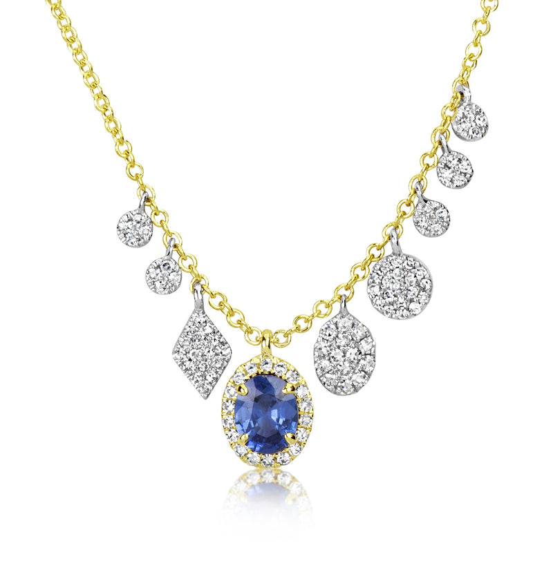 Yellow Gold Sapphire Charm Necklace