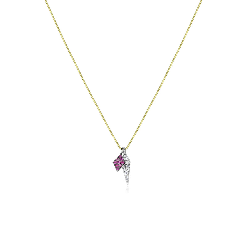 Ruby and Diamond Dagger Necklace