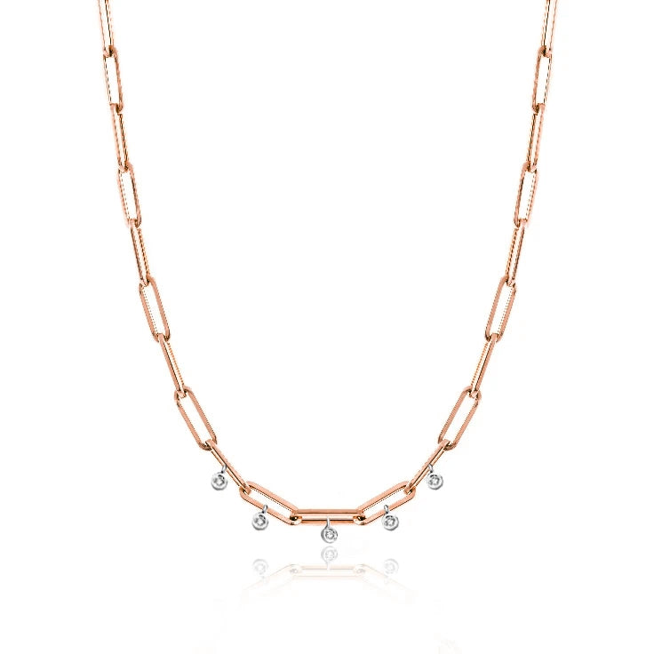 Rose Gold 16 inches Chunky Chain Diamond Necklace