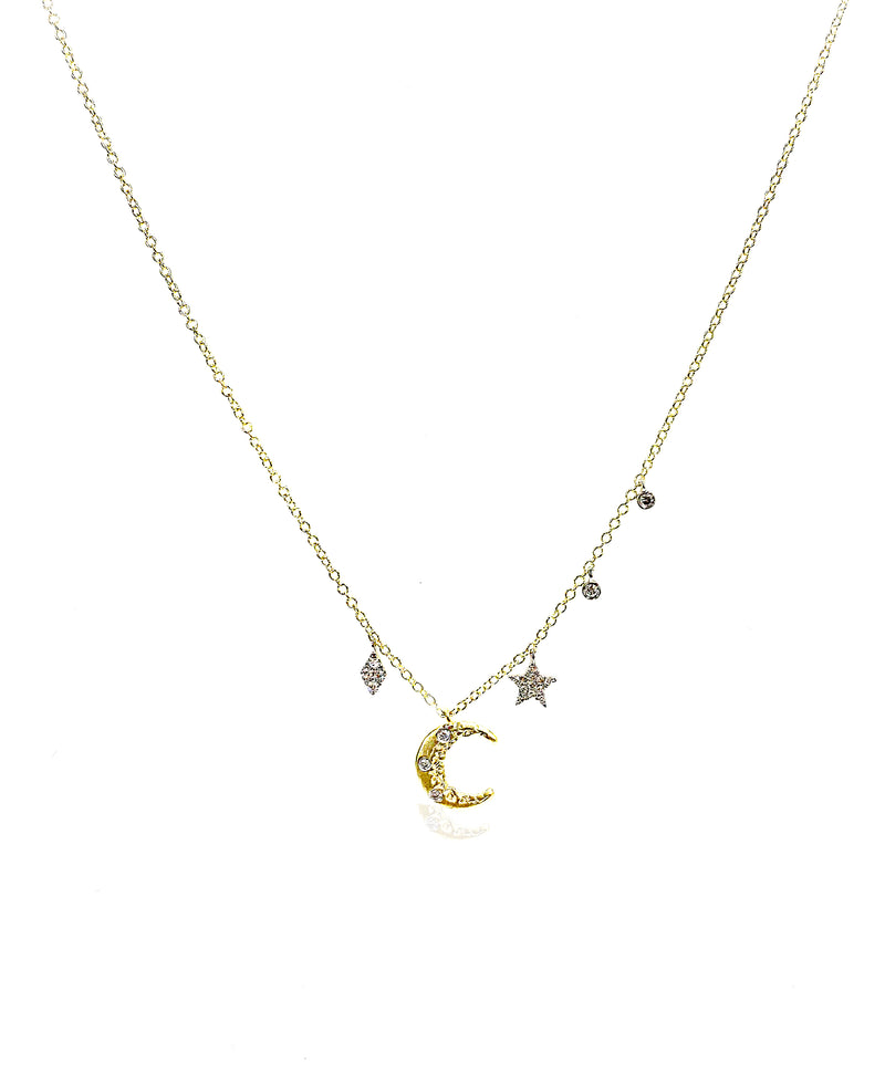 Yellow Gold Crescent Moon and Star