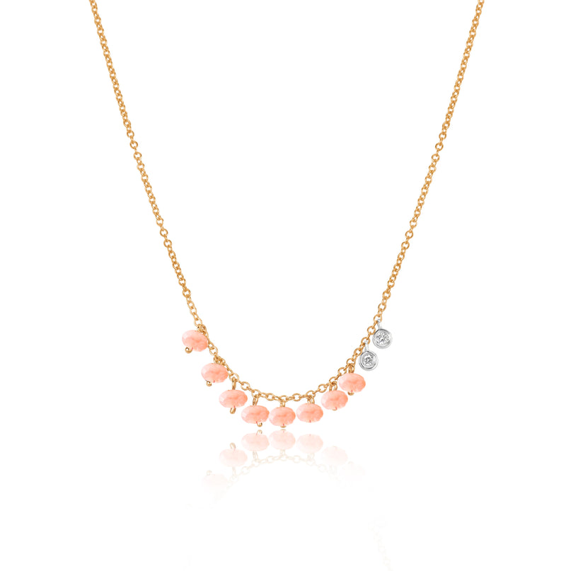 Dainty Pink Opal and Bezel Necklace
