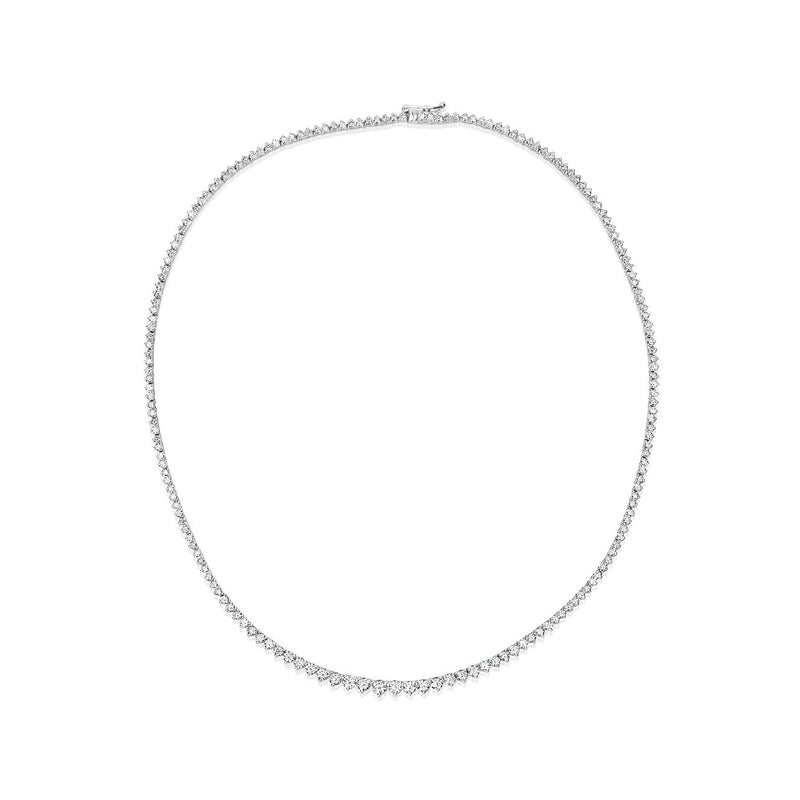 Diamond Three Prong Tennis Necklace