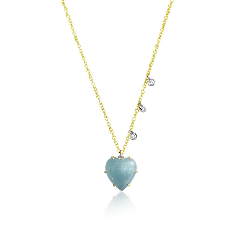 Milky Aqua Heart Necklace