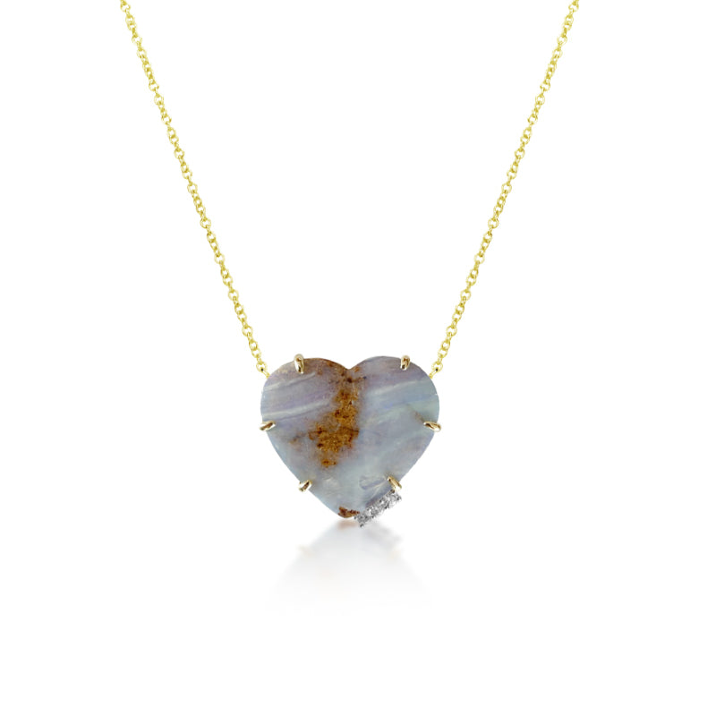 Opal and Diamond Heart Necklace | Limited Edition