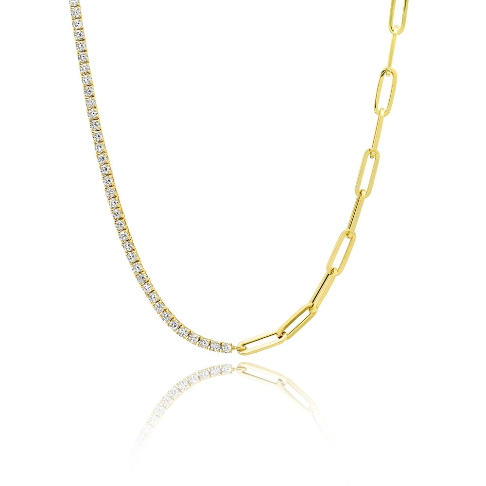 Half and Half Diamond Necklace