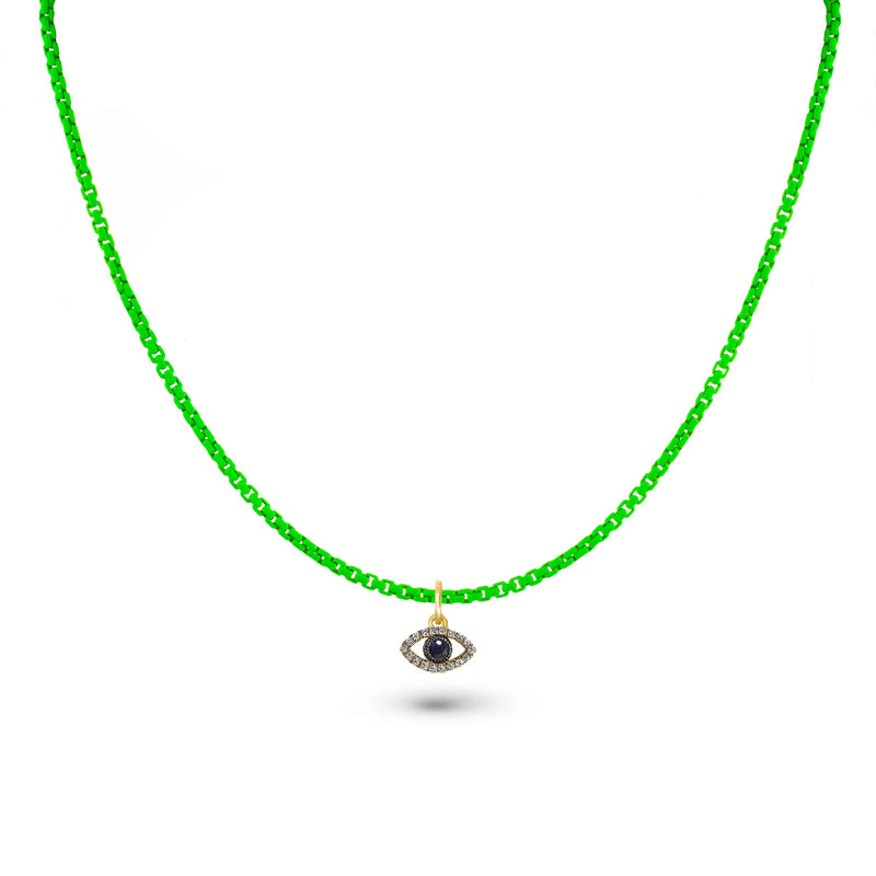 Neon Green Chain and Evil Eye Charm
