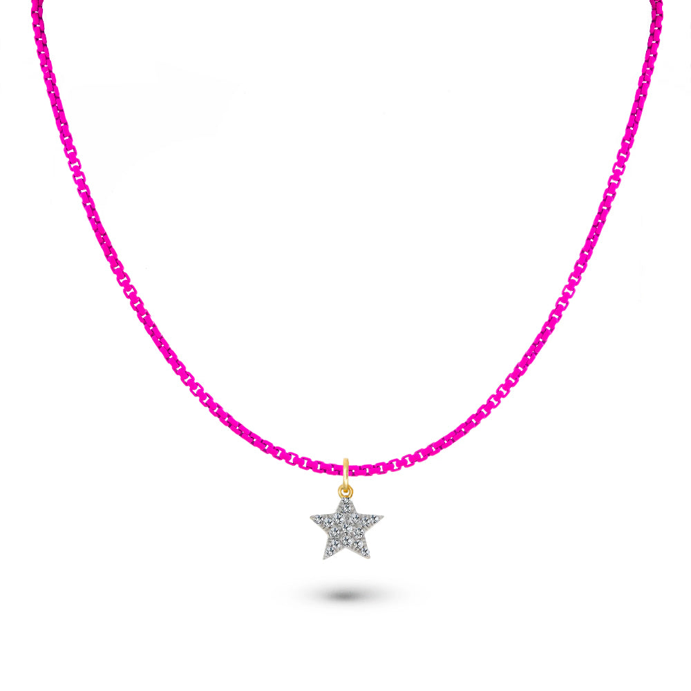 Neon Pink Chain and Diamond Star Charm