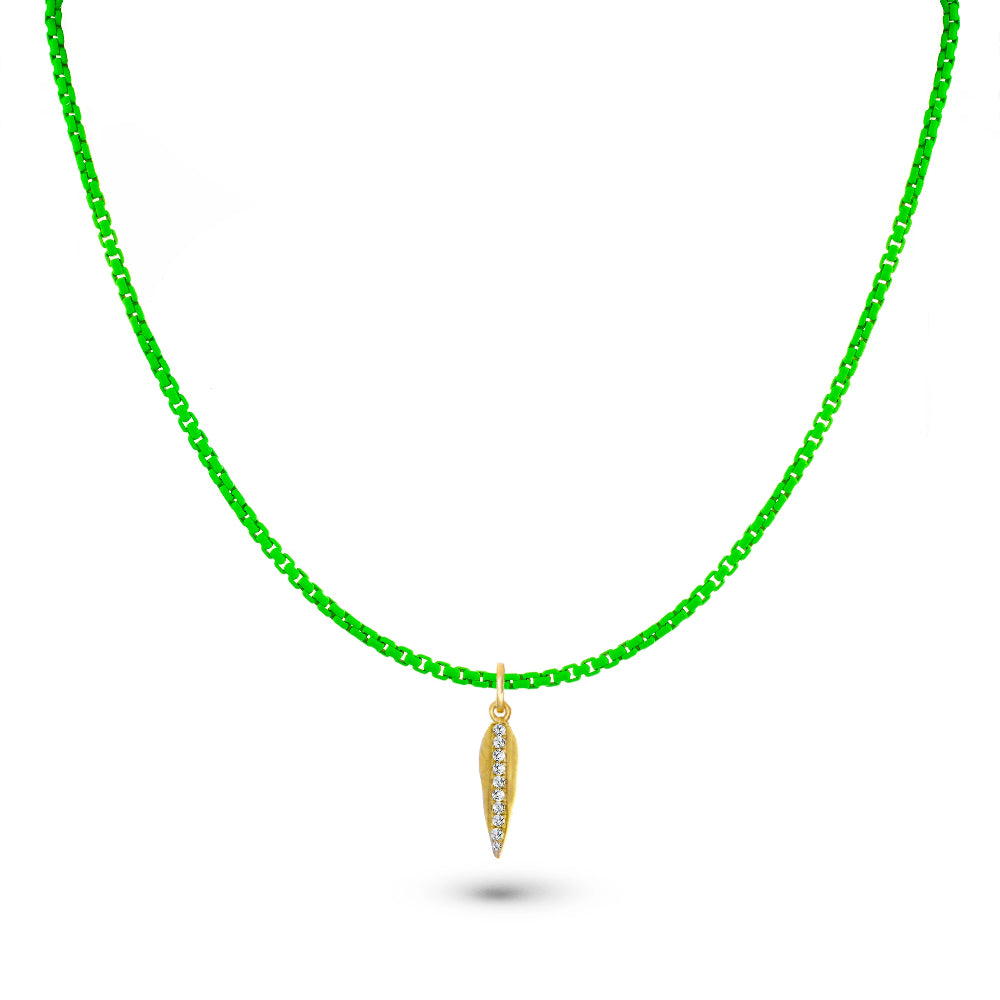 Neon Green Chain and Leaf Charm