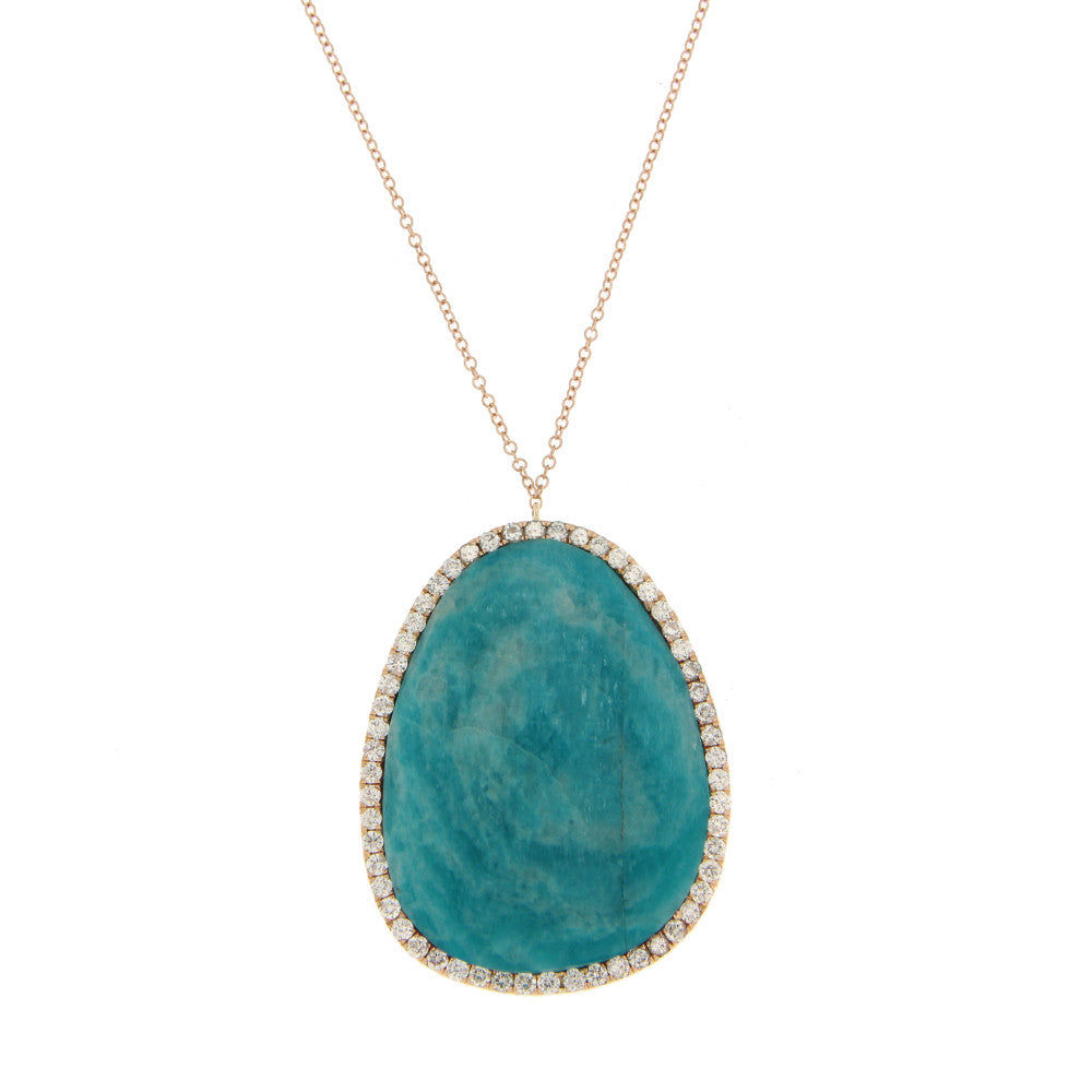 Rose Gold Diamond Amazonite Necklace