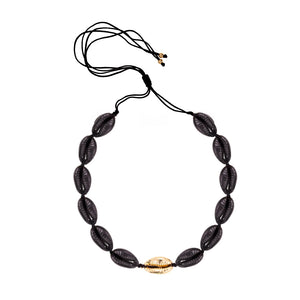 Black and Gold Cowrie Shell Necklace