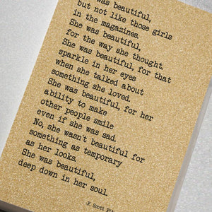 She Was Beautiful... - Glitter Notebook
