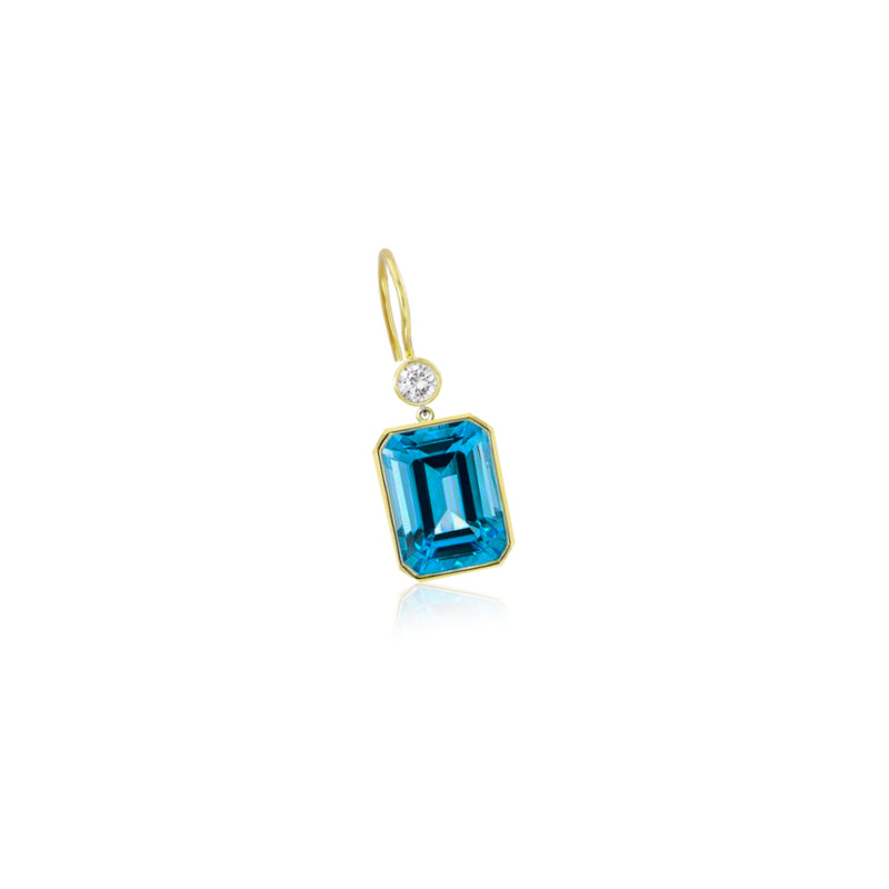 Yellow Gold Blue Topaz Drop Earring (single)