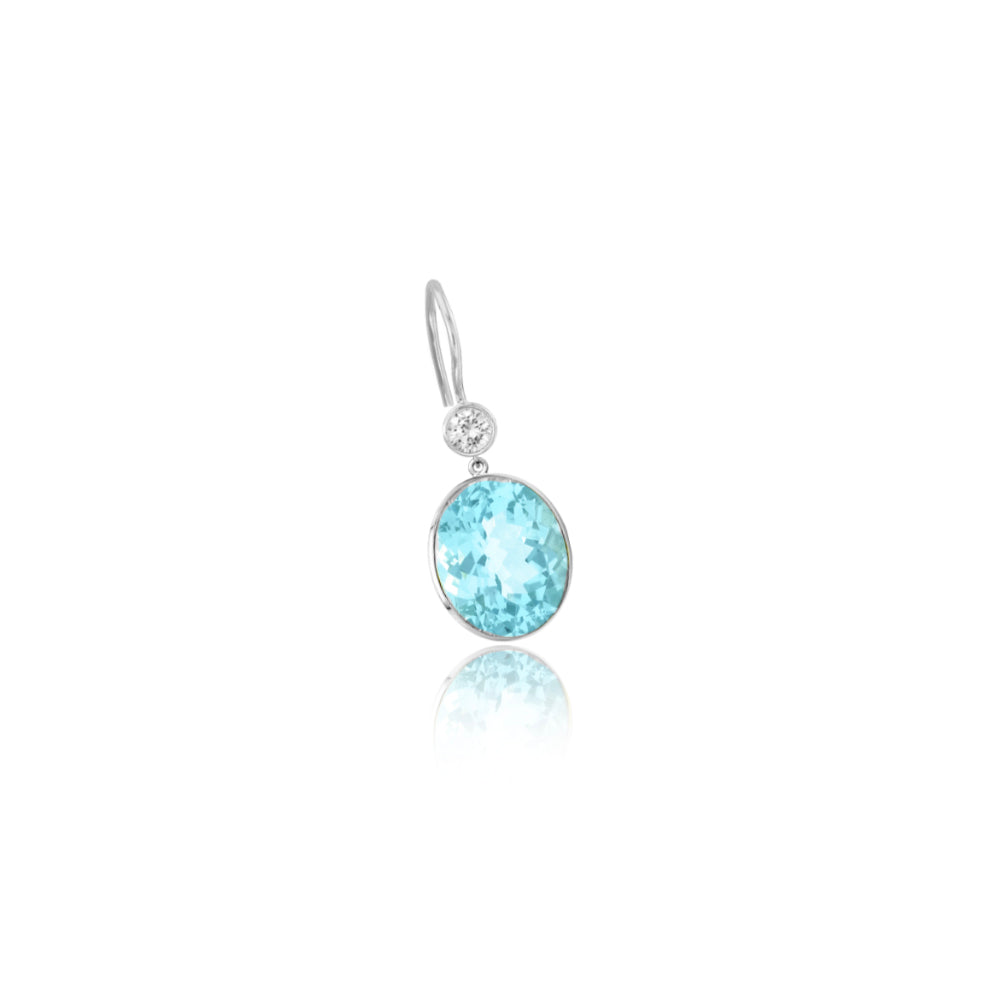 White Gold Blue Topaz Drop Earring (single)