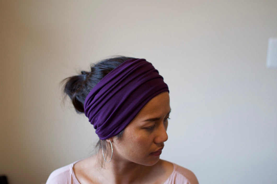 A. Extra wide headband - Eggplant Purple
