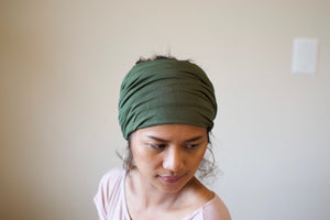 A. Extra wide headband - Olive Green