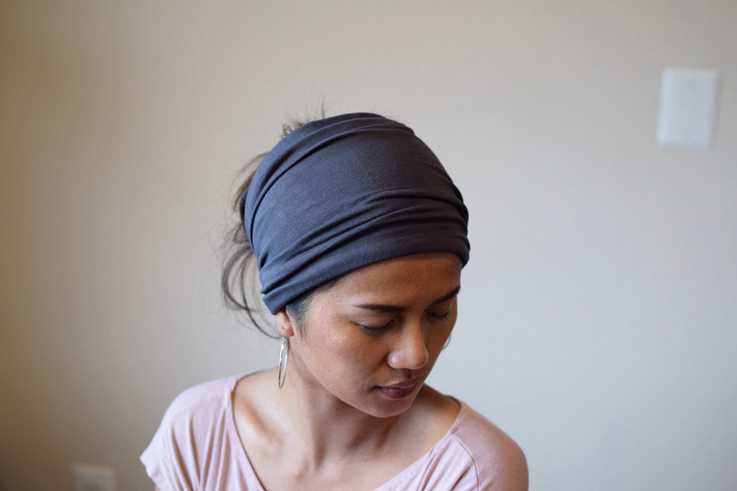 Blue Gray Extra Wide Invisible Seam Face Cover Headband