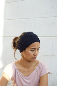 A. Extra wide headband - Dark Navy Blue