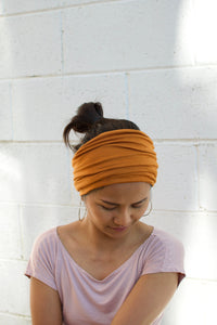 Golden Yellow Extra Wide Invisible Seam Face Cover Headband