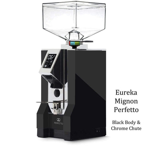 Eureka Coffee Grinder Black Body & Chrome Chute Eureka Mignon Perfetto Home Coffee Grinder