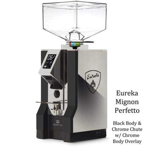 Eureka Coffee Grinder Black Body & Chrome Chute with Chrome Body Overlay Eureka Mignon Perfetto Home Coffee Grinder