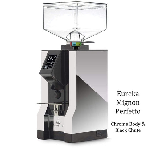 Eureka Coffee Grinder Chrome Body & Black Chute Eureka Mignon Perfetto Home Coffee Grinder