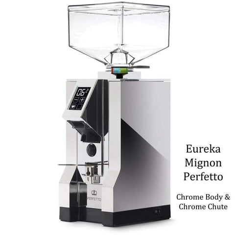 Eureka Coffee Grinder Chrome Body & Chrome Chute Eureka Mignon Perfetto Home Coffee Grinder