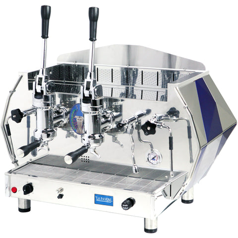 La Pavoni Espresso Machine Blue La Pavoni DIAMENTE 2-Group Commercial Lever Espresso Machine