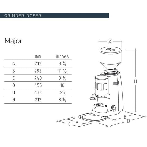 Mazzer Coffee Grinder Mazzer Major Automatic Espresso Grinder Doser
