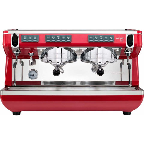 Nuova Simonelli Espresso Machine Red Nuova Simonelli Appia Life 2 Group Volumetric Commercial Espresso Machine