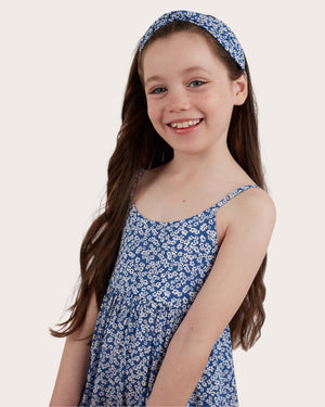 Load image into Gallery viewer, Girls Daisy Headband - Blue Denim