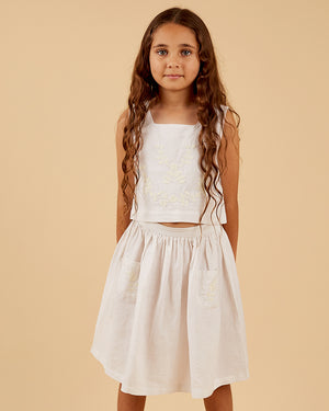Load image into Gallery viewer, Girls Amaya Skirt - White Embroidery