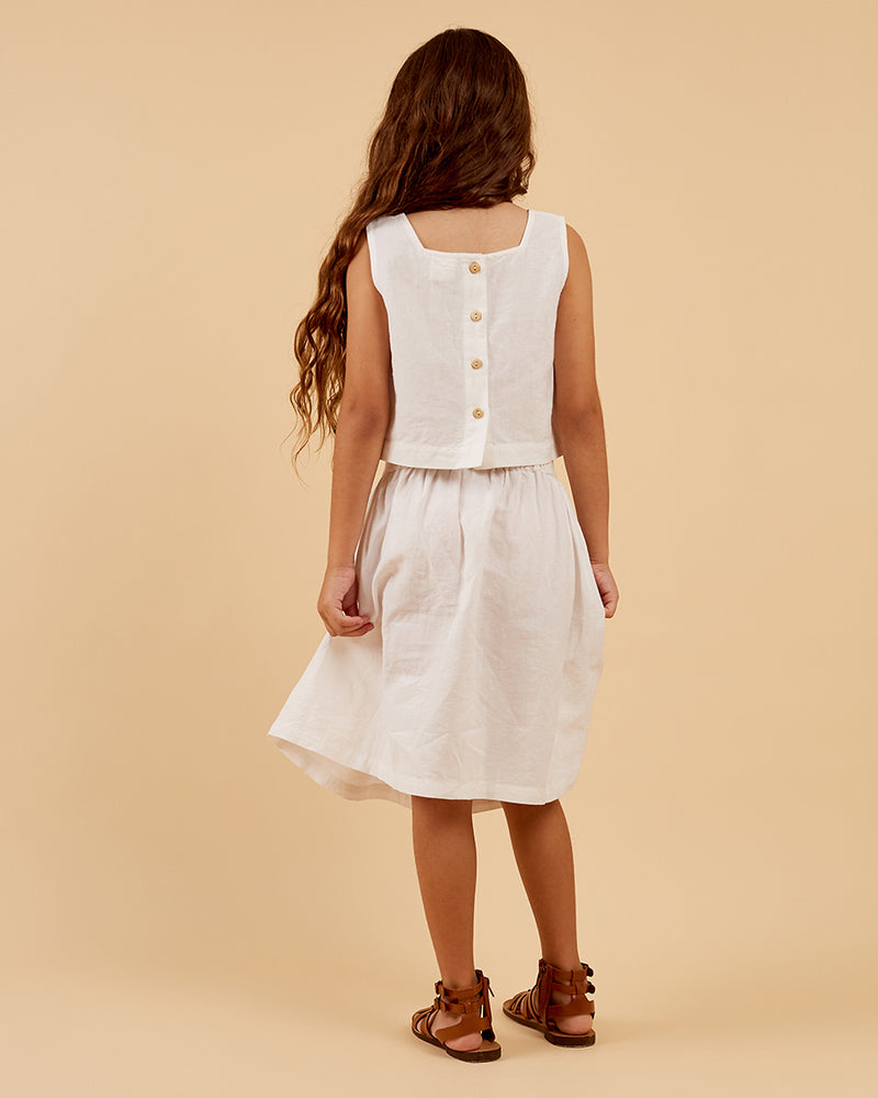Girls Amaya Skirt - White Embroidery