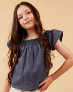 Girls Bella Top - Indigo